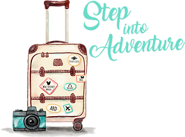 Step Into Adventure packed suitcase