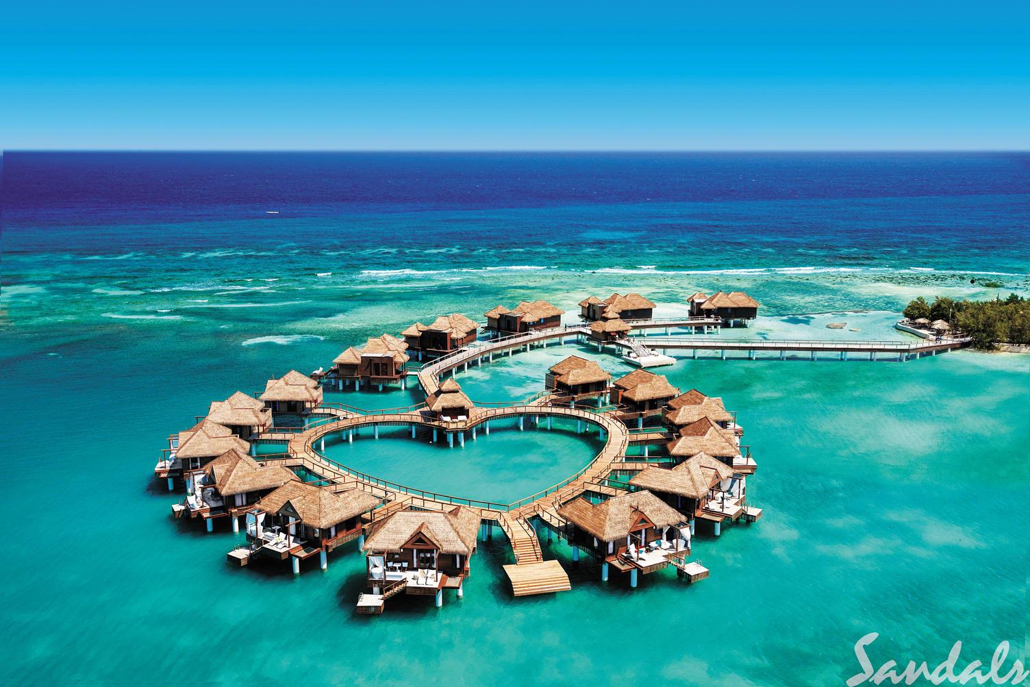 Sandals beach cabanas on the ocean