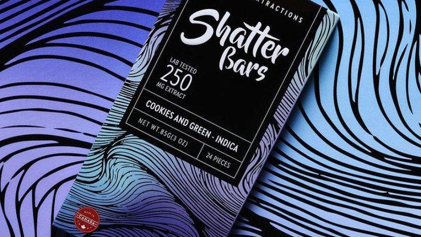 Eu4ia Indica Shatter Bars - 250mg THC