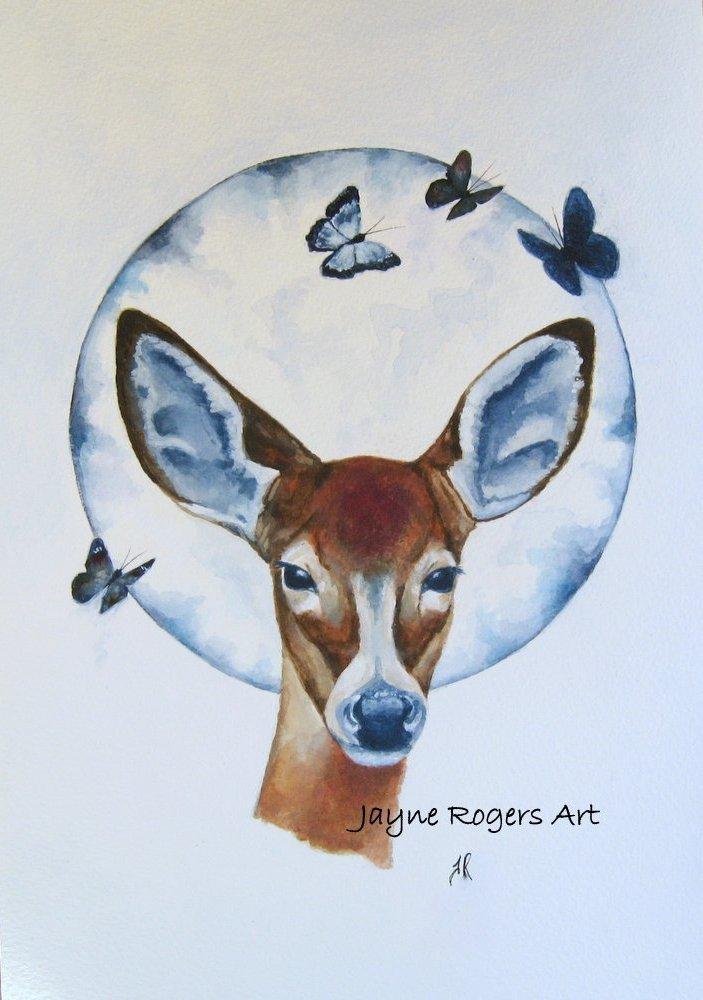 Moonlit Deer Painting.
