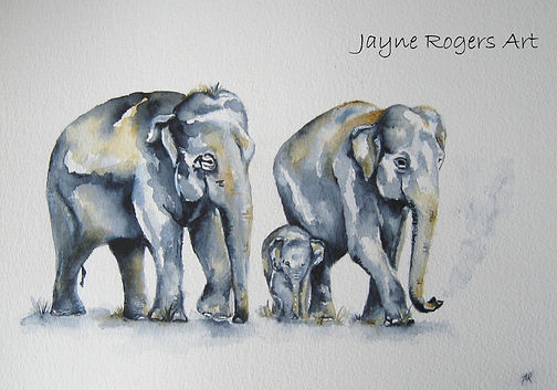 Elephant Family Watercolour Painting.