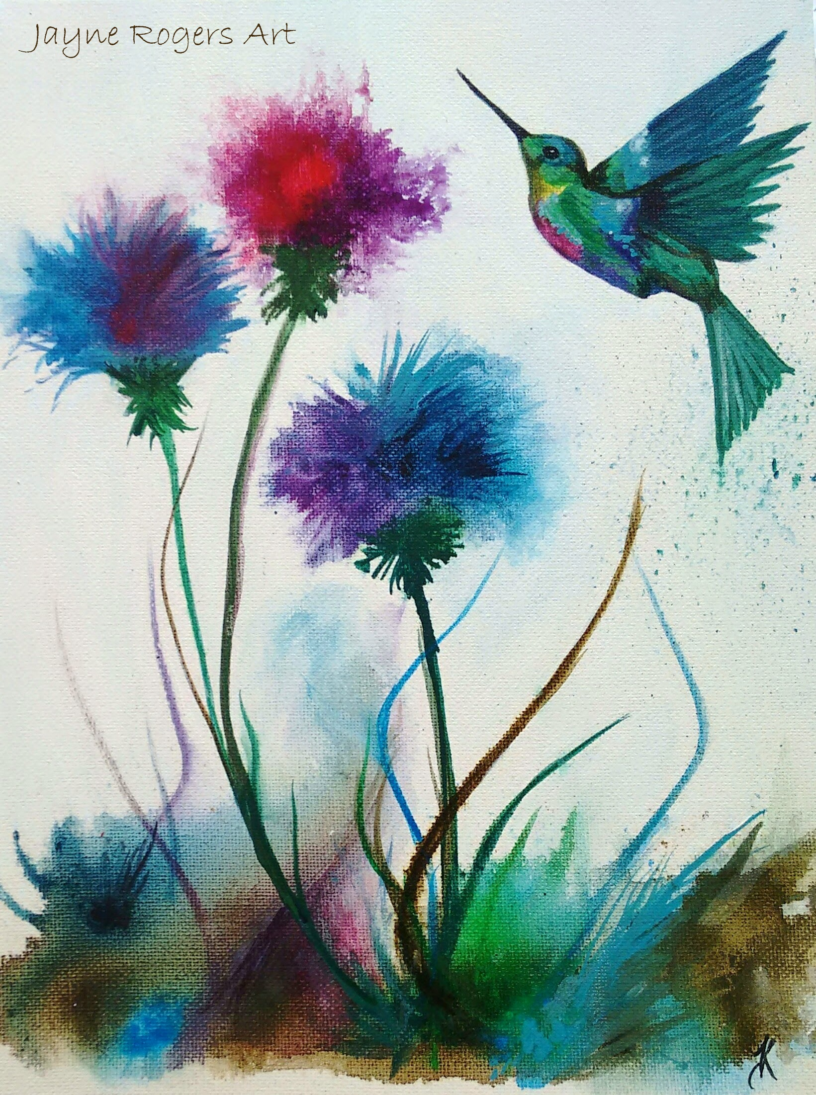 Hummingbird Thistles Painting.