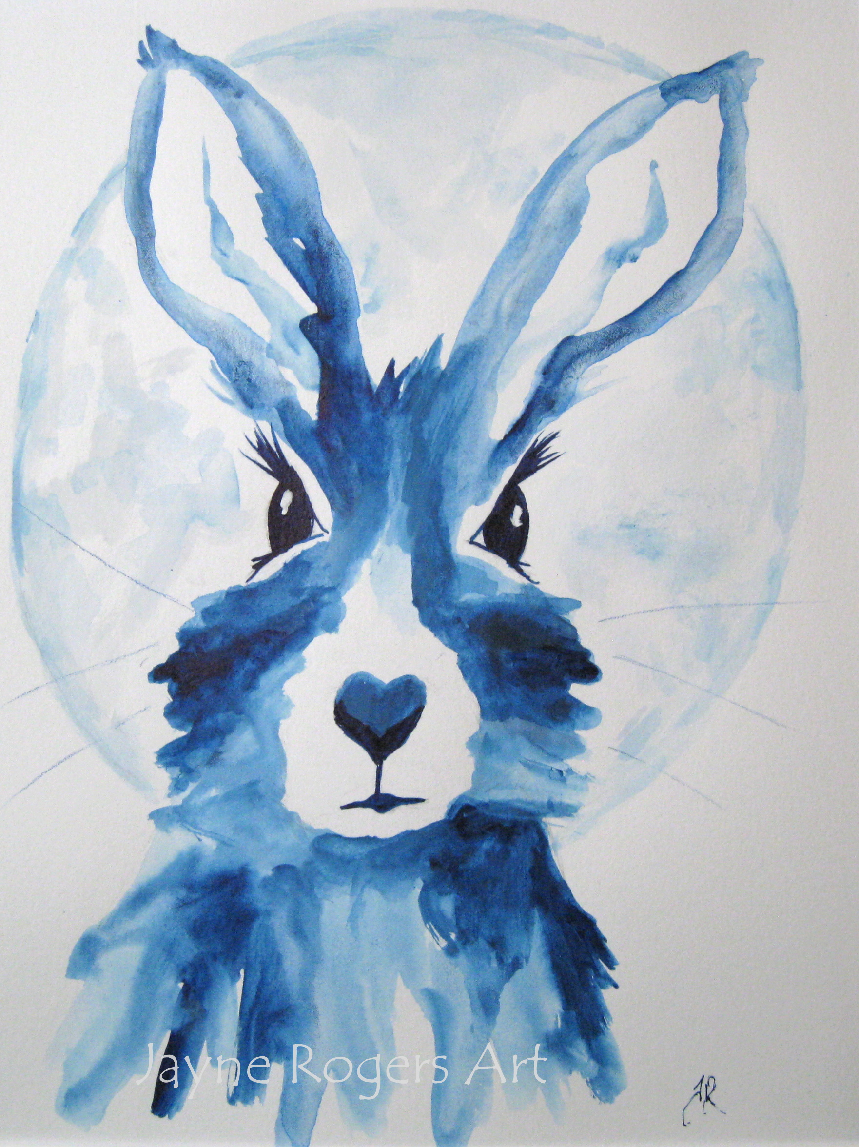 Blue Moon Hare Art.