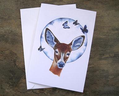 Deer Artist Card. Blank Card.