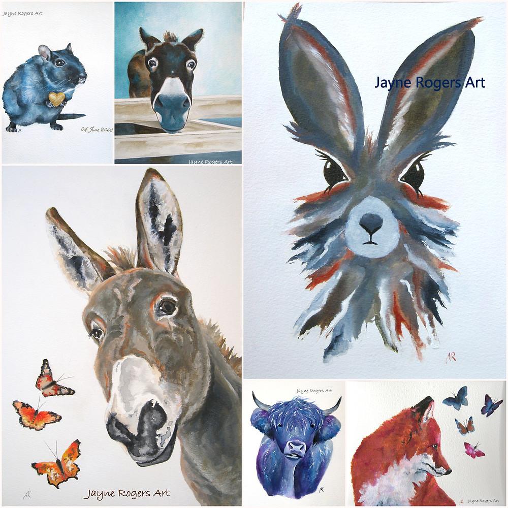 Animal art gallery by Jayne Rogers animal artist.