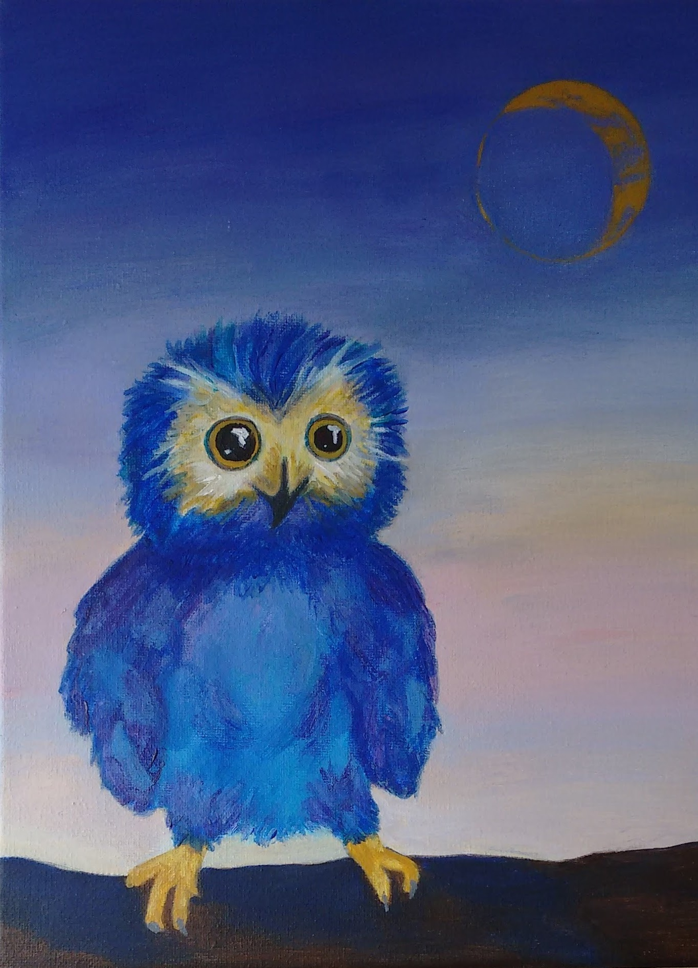 Sunset Owl Painting