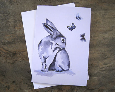 Blue hare greeting card.