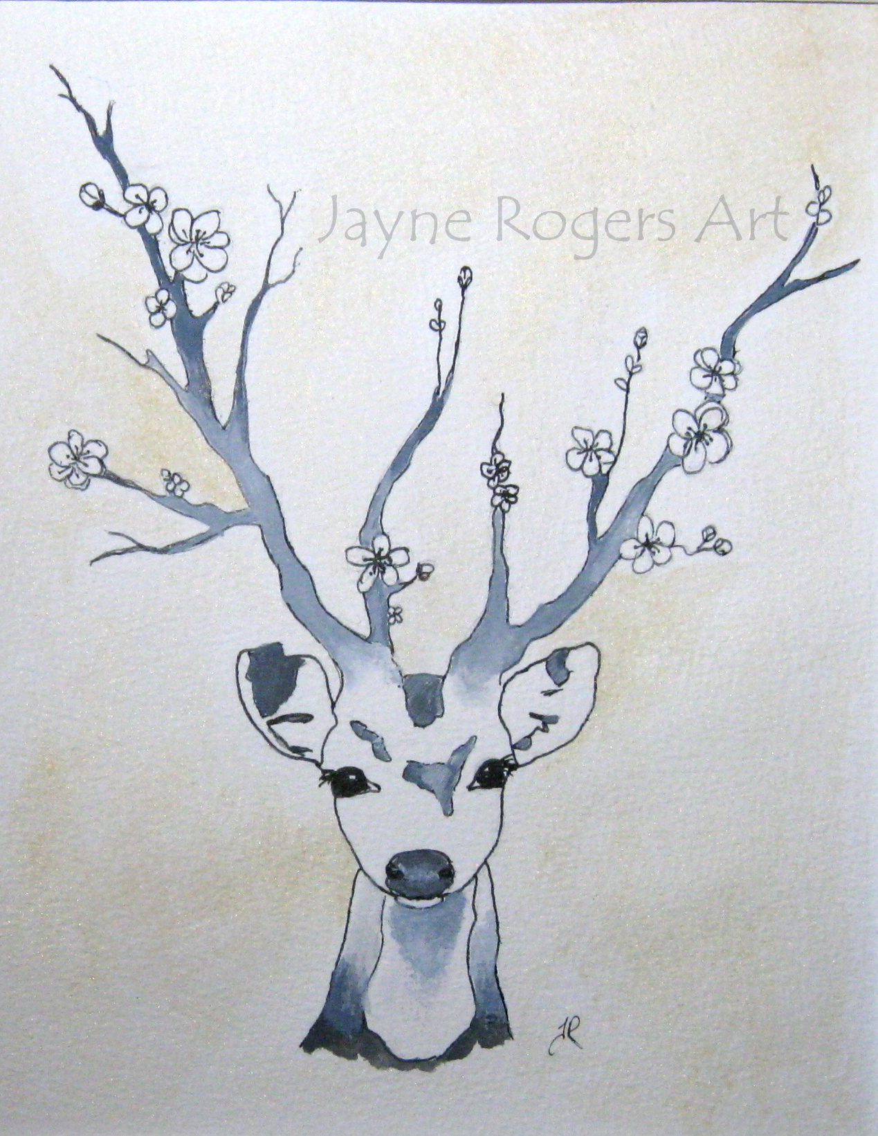 Golden Flower Deer Painting.