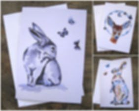 Blank Card Pack Animal Art.