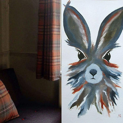 Hare painting commisson to match curtains.