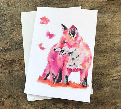 Fox cub greeting card. A5.