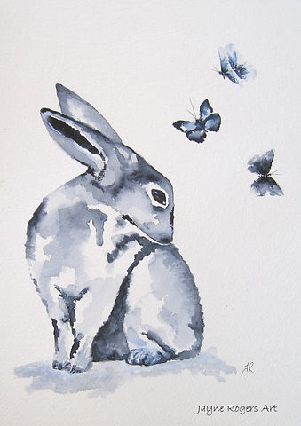 Grace Hare Painting. Blue Animal Painting by Jayne Rogers Art.