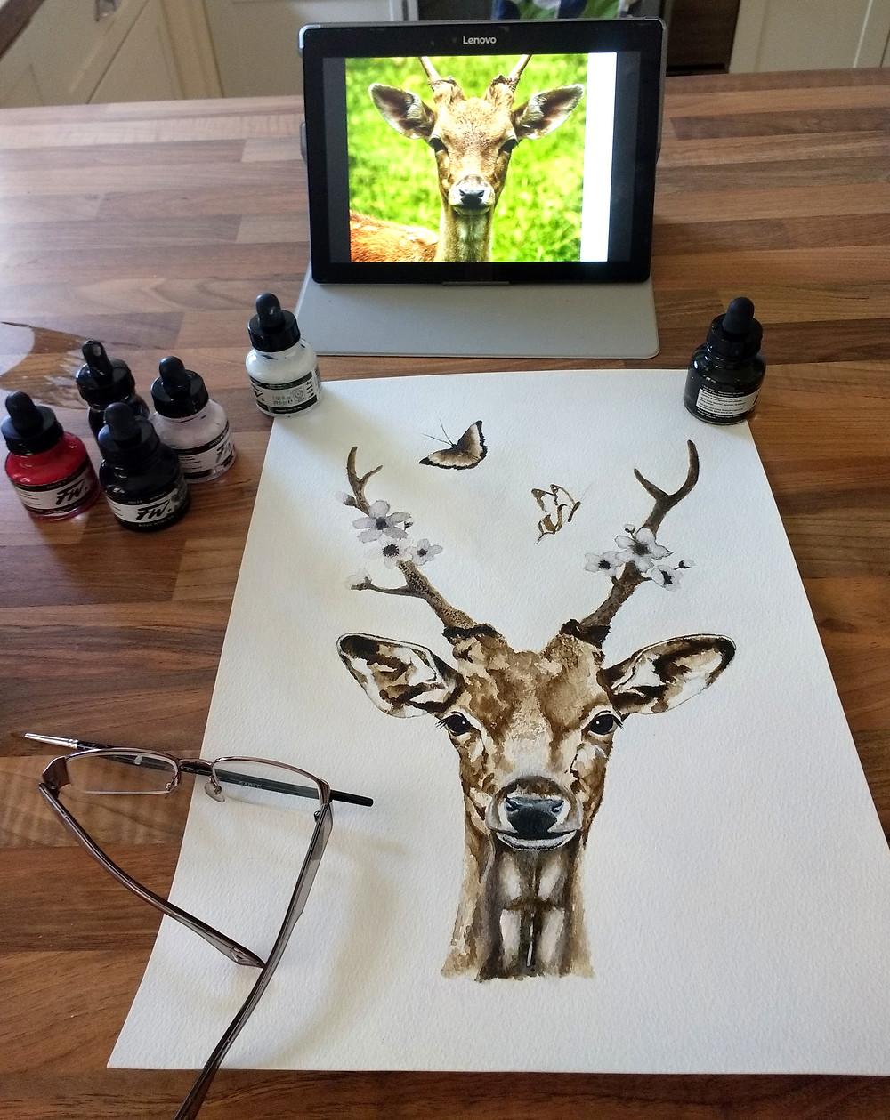 Deer painting in progress by Jayne Rogers Art.