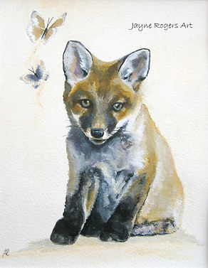 Fox cub painting. Animal art.