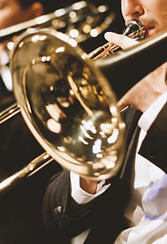 Trumpet players in orchestra