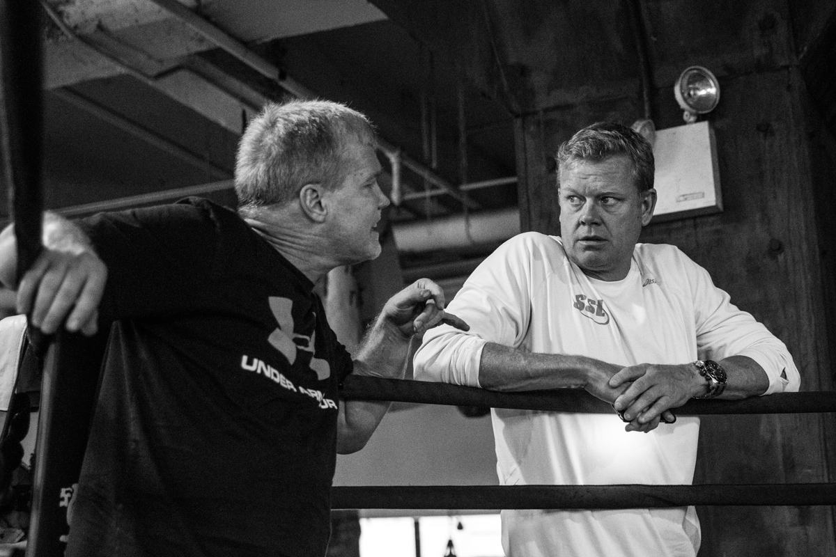 Discussing boxing strategy