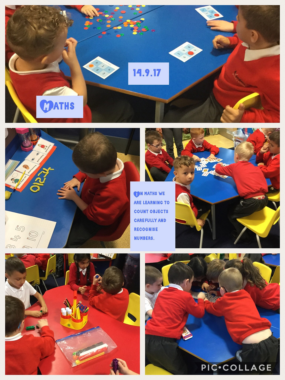 We have been learning to count objects carefully and recognise numbers.