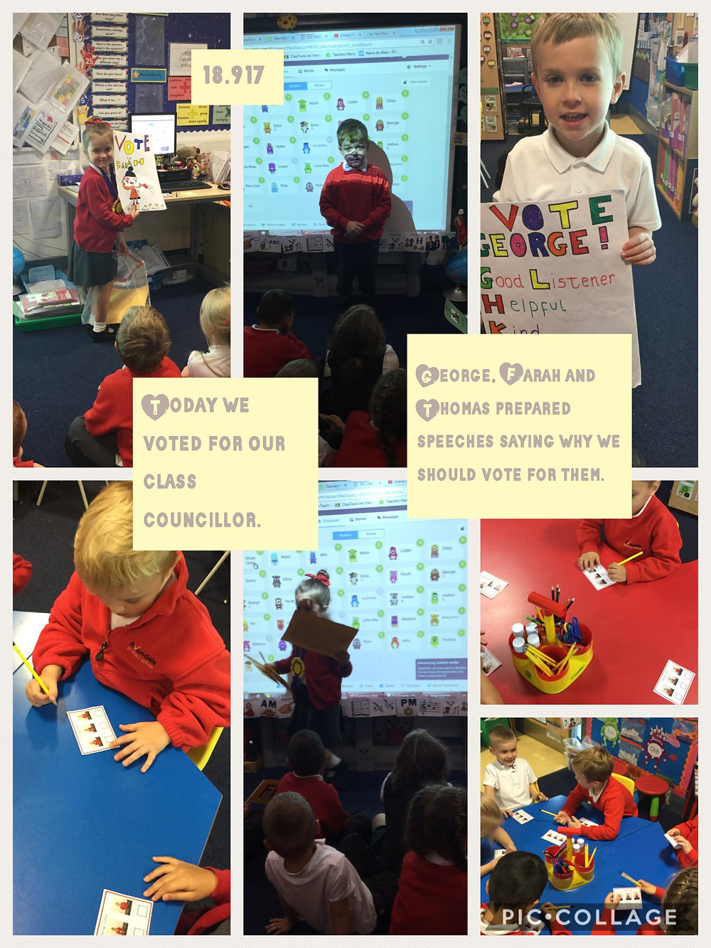 We have been voting for a friend in our class to be our class councillor.
