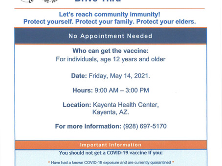 Ages 12-yrs and older Vaccination Drive