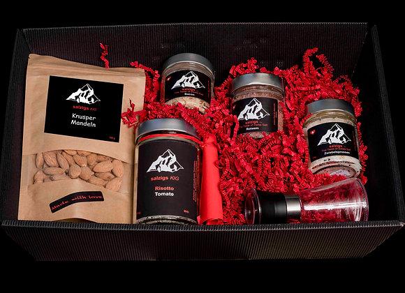 Geschenkbox 3 Salze & Risotto & Salzmühle & Knusper Mandeln
