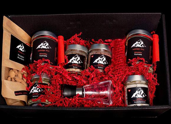 Geschenkbox 4 Salze & 2 Risotto & Salzmühle & Knuspern Mandeln