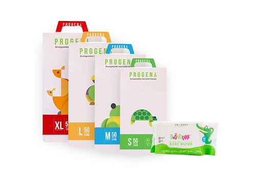Trial Pack 50 pcs Progeny Nappies + Wet Wipes