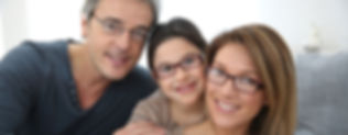 Handsome father, daughter and wife with eye glases from optometrist