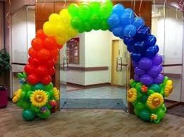 七彩花氣球拱門