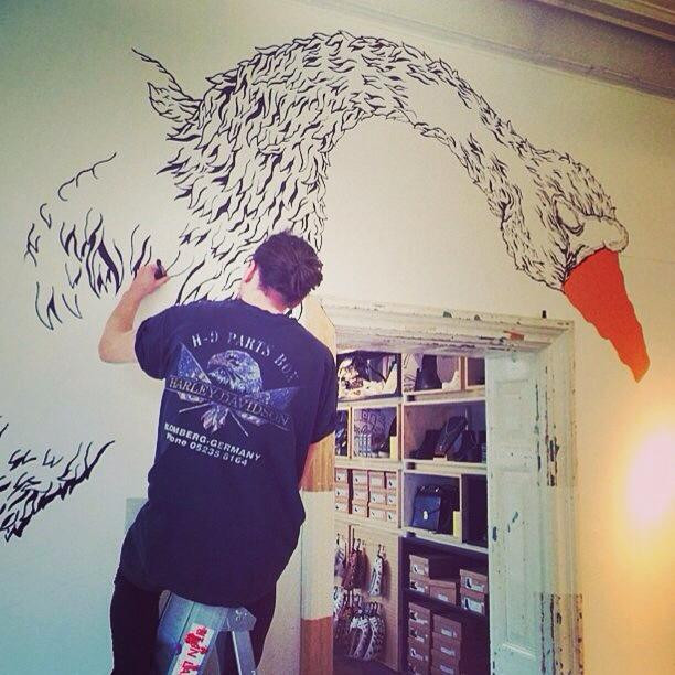 Swan mural for Urban Outfitters York store