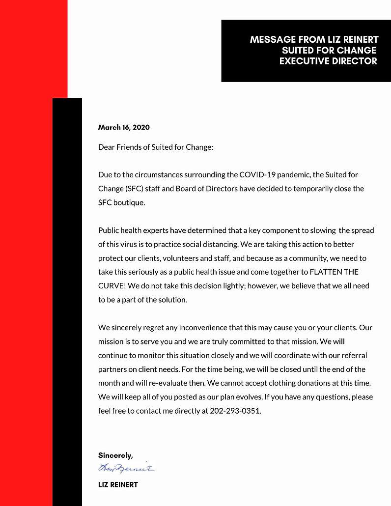 March 16  2020 - Message from Liz Reiner