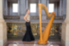Harpist Krista Strader at San Francisc City Hall