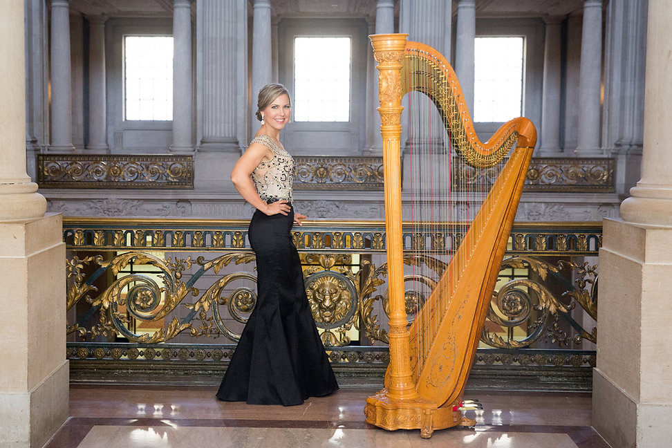Harpist Krista Strader at San Francisc City Hall