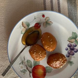 Healthy honey on greek donuts.JPG