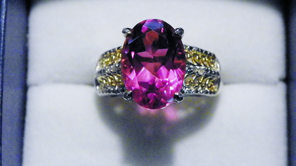 Lilac Quartz (6.75ct) Dia (.02ct) ring in 14K YG & Platinum/925 Silver size 8