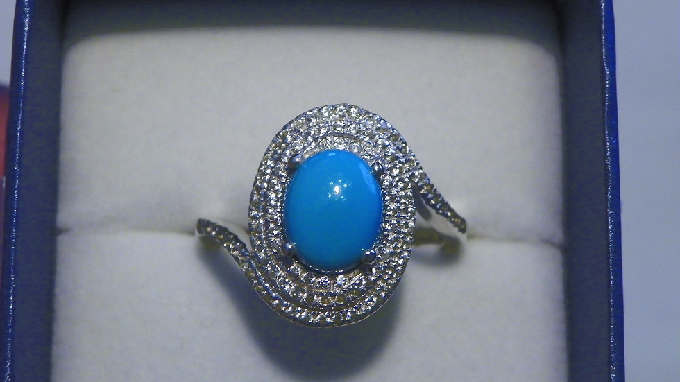 Arizona Sleeping Beauty Turquoise & Zircon ring 3.50ct sz 10 in Plat/925 Silver