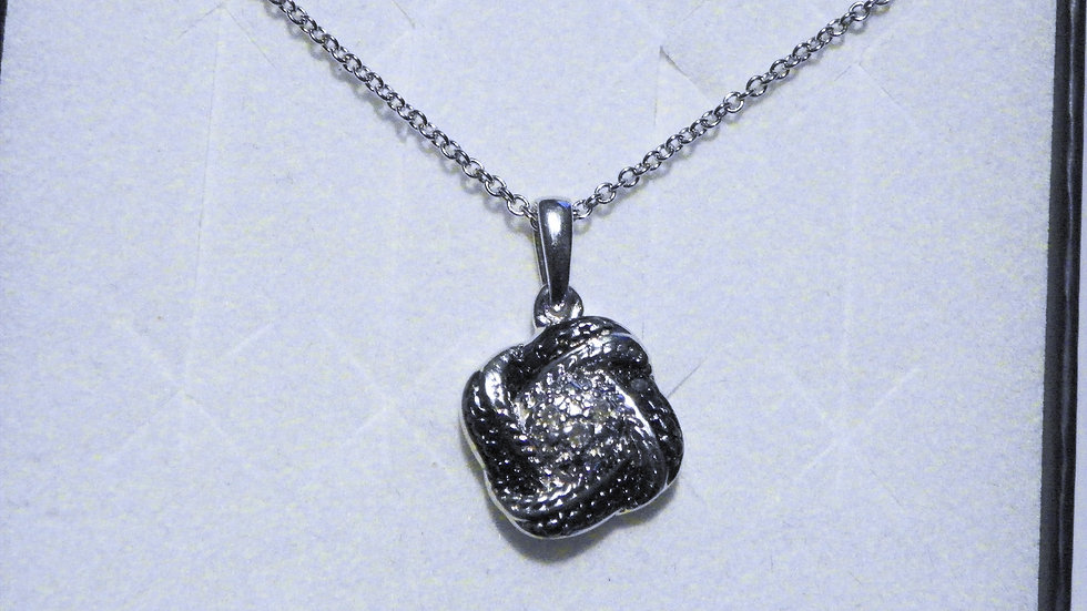 "Blue & White Diamond (.03ct) pendant in Platinum over 925 w/20"" 925 chain"