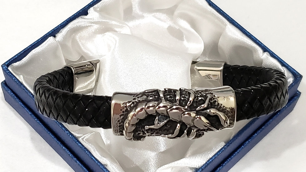 Genuine braided Leather Scorpion men's bracelet 8 inches w/316L Stainless Steel