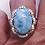 Thumbnail: Massive Larimar & White Zircon statement halo ring 12.87 tcw platinum/925 sz 8
