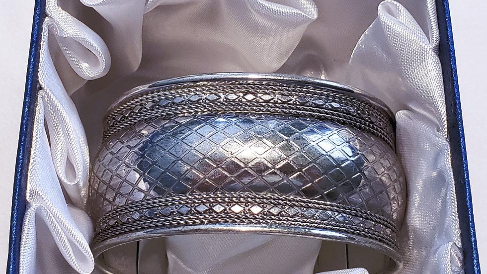 Silvertone checkered cuff bracelet