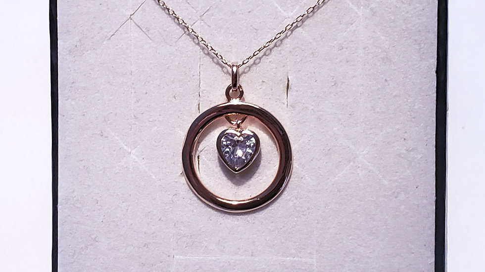 "Cubic Zirconia dangling heart necklace in 14K Rose Gold over 925 w/18"" chain"