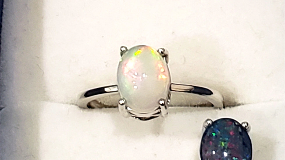Welo and Boulder opal interchangeable ring in Rhodium over 925 SS 2.40 ct sz 7