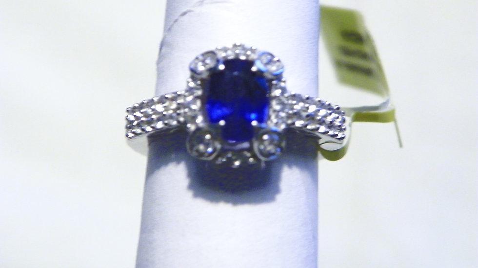 Blue Sapphire & Cambodian White Zircon halo ring in Platinum/925 sz 5 1.55 cts