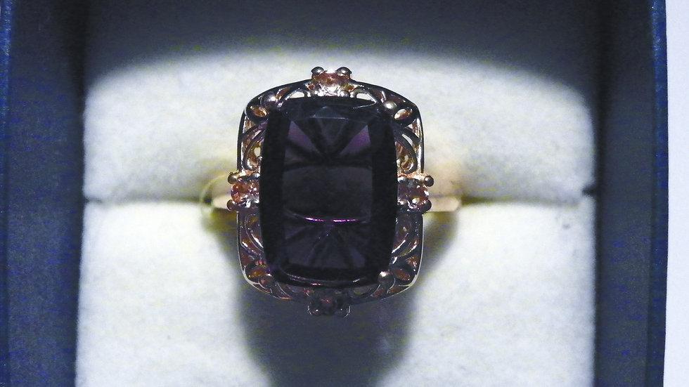 Lusaka Amethyst & Pink Tourmaline ring (6.58 ct) in 14K Rose Gold over 925 sz 7