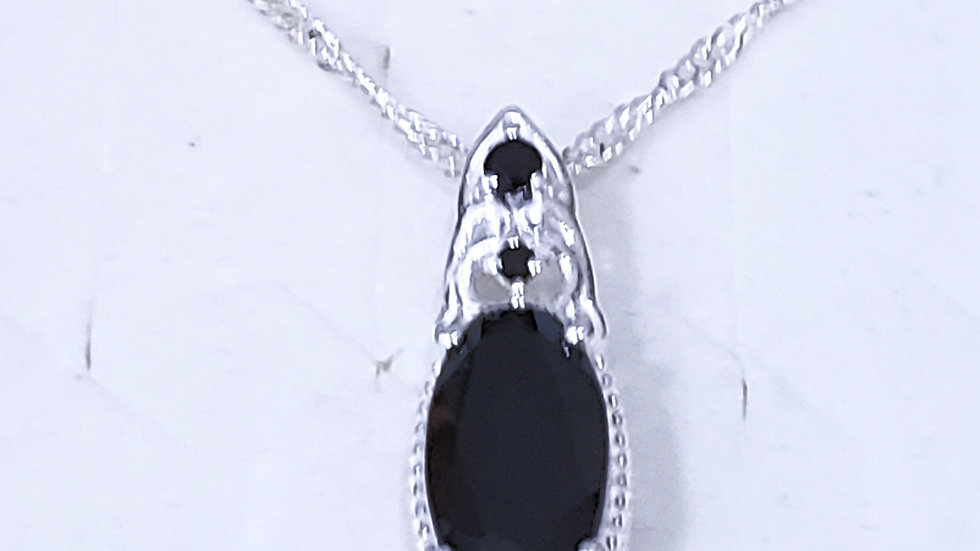 Natural Thai Black Spinel pendant necklace 20 inches w/ 925 Sterling chain