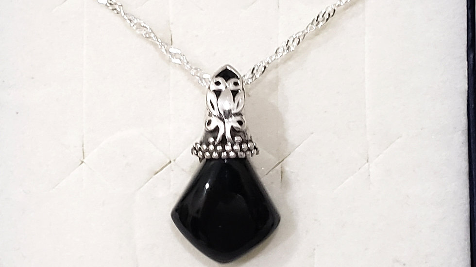 California Black Jade solitaire necklace in Platinum over 925 Sterling Silver