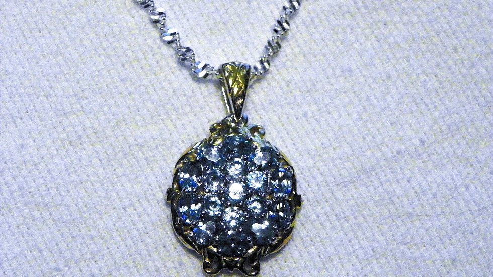 Cambodian Blue Zircon (3.53ct) pendant in 14K YG over 925 Sterling w/20 in chain