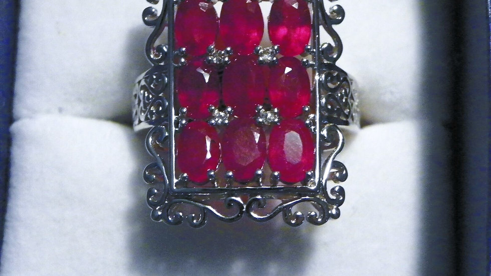 Ruby & White Topaz (6.536 ct) ring in Platinum over Sterling Silver size 10