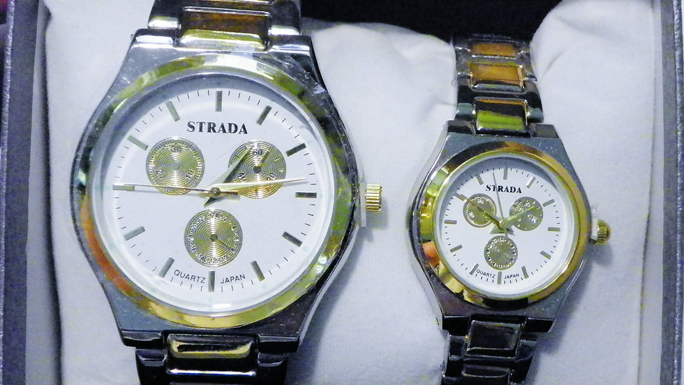 His & Hers Japanese Mvmt watches in 14K Yellow Gold & Stainless Steel