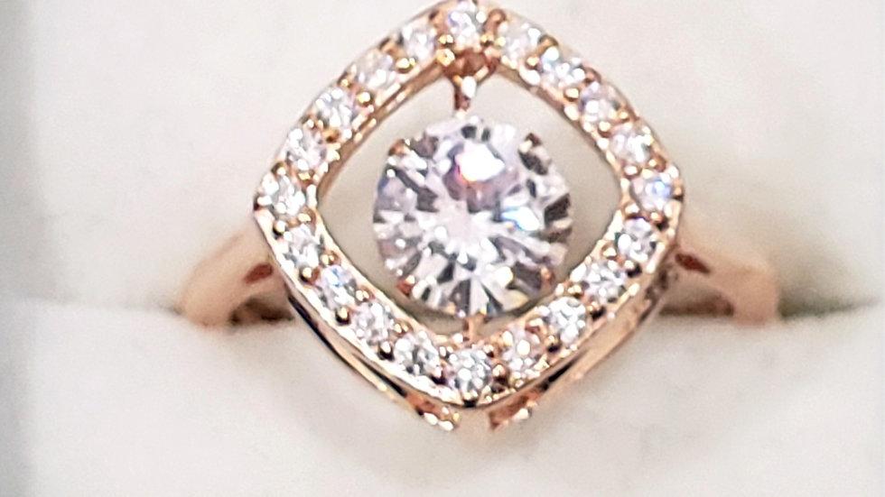 Cubic Zirconia dancing gemstone ring in 14K RG over 925 Sterling Silver sz 6