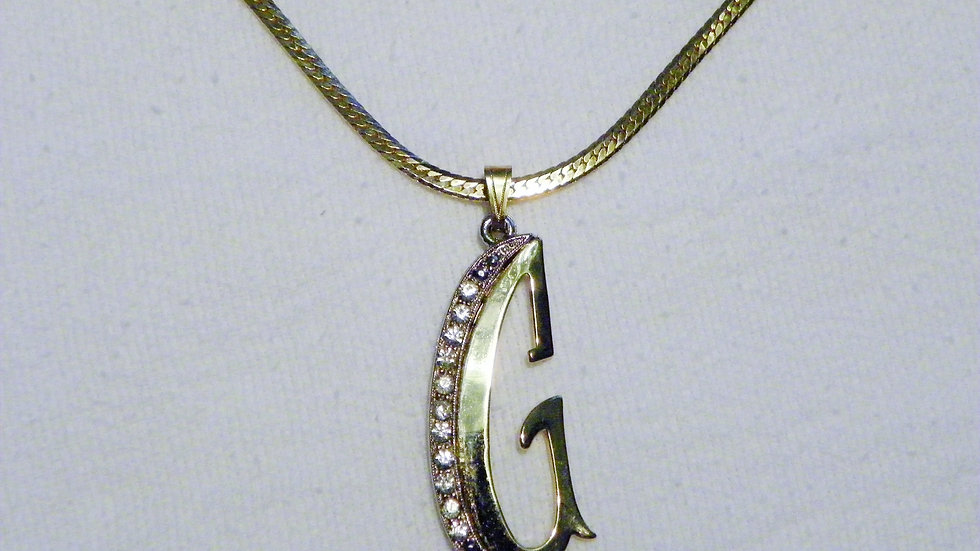 "Vintage estate ""G"" initial 24"" pendant in gold tone and CZ/crystal accent stones"